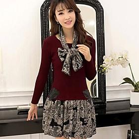 La nouvelle version coréenne des femmes de la mode a été mince mince tricot - robe