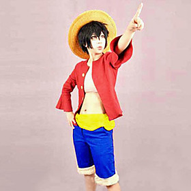 Inspired by One Piece Monkey D. Luffy Anime Cosplay Costumes Cosplay Suits Patchwork Top Belt Shorts For Male Female 460192