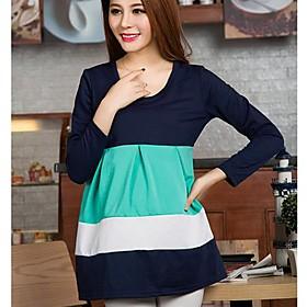 maternidad vestido de color de contraste cuello redondo (m?colores)