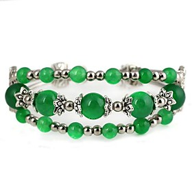 Three Rows of Silver Agate Bracelet/Bangle Green (1Pc)