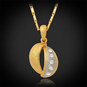 U7New Vintage 18K Real Gold Platinum 2 Color Plated Rhinestone Crystal Pendant Necklace for Women