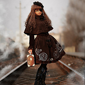 Infanta Steampunk Knee-length Velvet Steampunk Steampunk Dress