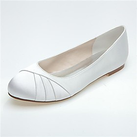 [XmasSale]Women's Shoes Round Toe Flat Heel Satin Flats Wedding Shoes More Colors available