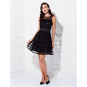 TS Couture Cocktail Party / Holiday Dress - Elegant / Short / Little Black Dress Plus Size / Petite A-line Bateau Short / Mini Tulle / Stretch Satin plus size,  plus size fashion plus size appare