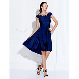 TS Couture Cocktail Party Company Party Family Gathering Dress - Short A-line Jewel Asymmetrical Jersey withBeading Crystal Detailing plus size,  plus size fashion plus size appare