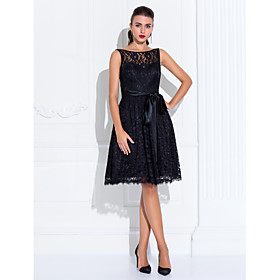 TS Couture Cocktail Party Homecoming Prom Wedding Party Dress - Short Little Black Dress A-line Scoop Knee-length Lace withLace Sash / plus size,  plus size fashion plus size appare