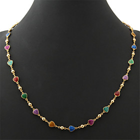 U7Beautiful Women's Colorful Enamel Hearts Choker Necklace Chain 18K Real Go..