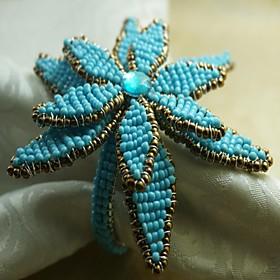 Poinsettia Napkin Ring Many Petals, Glass Beads, 4.5CM, Set of 12