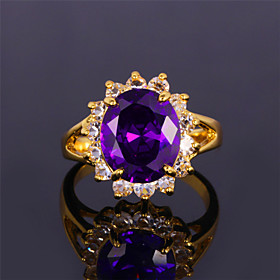 7 Colors Luxury CZ Stone Zirconia Ring Emerald Sapphire Ruby 18K Chunky Gold Plated Jewelry Gift for Women