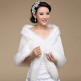 Fur Wraps / Wedding Wraps Shawls Long Sleeve Faux Fur White Wedding / Party/Evening Open Front