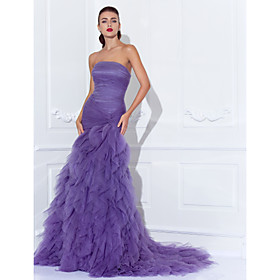 Mermaid / Trumpet Strapless Court Train Tulle Prom Formal Evening Dress with Criss Cross Ruching Cascading Ruffles by TS Couture plus size,  plus size fashion plus size appare