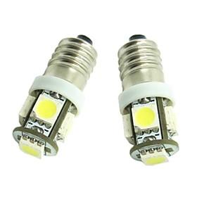2pcs E10 Car Light Bulbs 1.2W SMD 5050 70-90lm 5 LED Interior Lights For universal