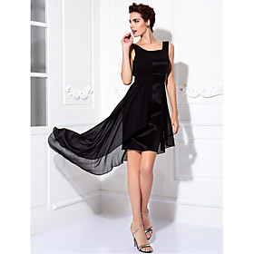 TS Couture Cocktail Party / Prom Dress Plus Size / Petite Sheath / Column Scoop Knee-length Chiffon / Stretch Satin with Draping plus size,  plus size fashion plus size appare