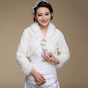 Fur Wraps / Wedding Wraps Coats/Jackets Long Sleeve Faux Fur White Wedding / Party/Evening Open Front plus size,  plus size fashion plus size appare