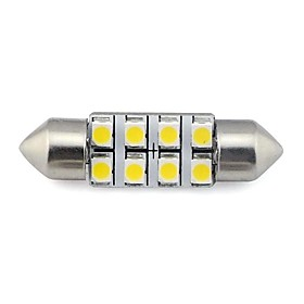 2 pieces 36MM 8x3528 SMD 1.3W 60LM Car Auto Festoon Light for Reading License Plate Lamp White Warm White DC 12V