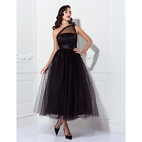 A-Line One Shoulder Ankle Length Tulle Cocktail Party / Prom Dress with Sash / Ribbon / Pleats by TS Couture / Little Black Dress plus size,  plus size fashion plus size appare