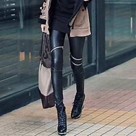 Women's Asymmetric Knee Zipper Faux  Leather Leggings