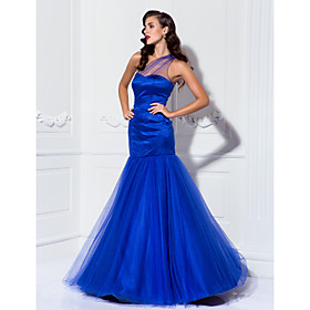Mermaid / Trumpet One Shoulder Floor Length Tulle Prom Dress by TS Couture plus size,  plus size fashion plus size appare