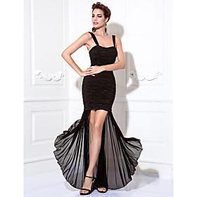 TS Couture Cocktail Party / Prom Dress Plus Size / Petite Sheath / Column Straps Tea-length Chiffon / Stretch Satin with Ruching plus size,  plus size fashion plus size appare