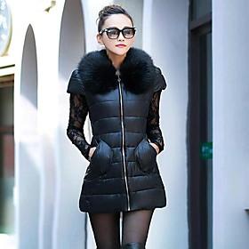 col de fourrure mince manteau de duvet des femmes (plus de couleurs)