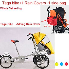 16″Convertible Stroller Pushchair Whole Set Adding 1 Side Bag1 Rain Cover Ruituo™ 3 Wheels Folding Bike 3 in 1