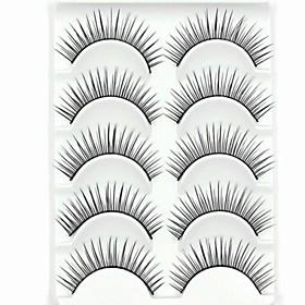 New 5 Pairs European Fiber Natural Looking Black Long False Eyelashes Eyelash Eye Lashes for Eye Extensions