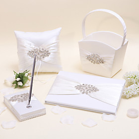 4 Collection Set Ivory Ring Pillow Guest Book Flower Basket Pen Set