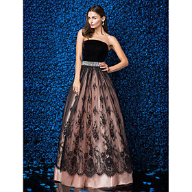 Ball Gown Strapless Floor Length Lace Velvet Prom Formal Evening Dress with ..