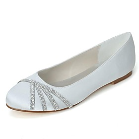 Women's Shoes Round Toe Flat Heel Satin Flats With Rhinestone Wedding Shoes More Colors available