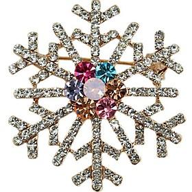 Wedding Bridal Colorful Brooch Pin Crystal Rhinestone Large Snowflake Winter..