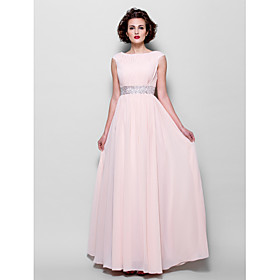 A-Line Bateau Neck Floor Length Chiffon Mother of the Bride Dress with Beading Draping Sash / Ribbon by LAN TING BRIDE