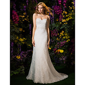 Sheath / Column Sweetheart Court Train Lace Tulle Wedding Dress with Beading Appliques Sash / Ribbon by LAN TING BRIDE