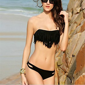 PINKQUEEN Women's Black Diva Strapless Fringe 2/pc Bikini