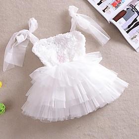 Girl's White Rose Flower Tutu Party Wedding Pageant Lovely Princess Dresses