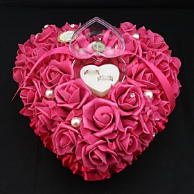 Heart Shape Rose Flower Pearl Ring Box Pillow for Wedding (262613cm) Coral W..