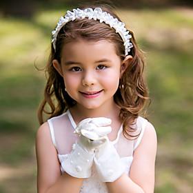 Wrist Length Fingertips Glove Satin Flower Girl Gloves Spring Summer Fall Winter