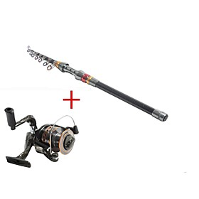 Image of Telespin Rod Fishing Rod Reel Fishing Rod Telespin Rod Carbon 270 M Sea Fishing Rod Reel Combos Black