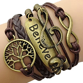 leather Charm BraceletsFashion Leather Multilayer Believe Wrap Bracelet inspirational bracelets Jewelry Christmas Gifts