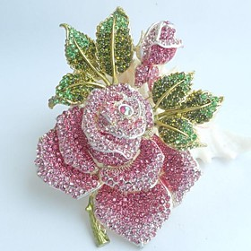 Women's Trendy Alloy Rhinestone Crystal Flower Rose Brooch Pin