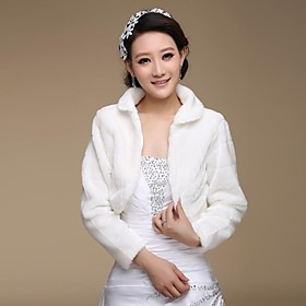 Fur Wraps / Wedding  Wraps Coats/Jackets 3/4-Length Sleeve Faux Fur Ivory Wedding / Party/Evening Open Front