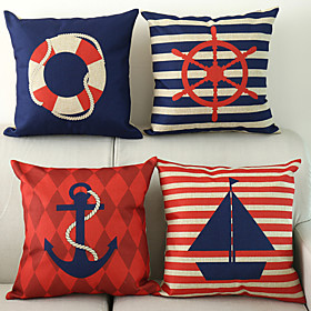 4 pcs Cotton / Linen Nautical Modern / Contemporary