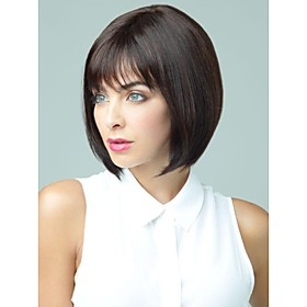 Capless Short Chestnut Brown Bob  Human Hair Wigs