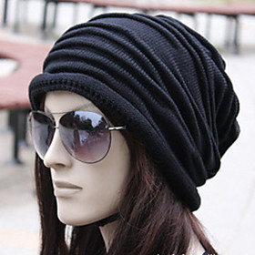 Unisex Work Active Cotton Beanie / Slouchy - Solid Colored Pleated 4463432