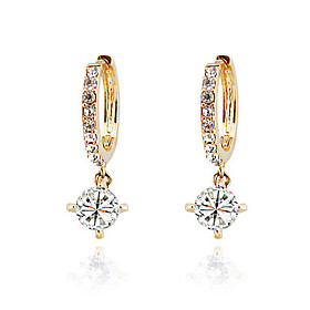 Women's Diamond Cubic Zirconia Hoop Earrings 18K Gold Plated Zircon Cubic Zirconia Earrings Ladies Classic Jewelry Gold / Silver / Purple For Wedding Masquerad