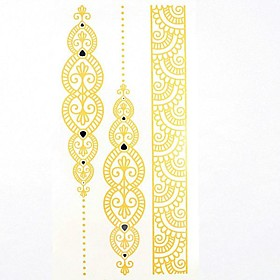 1PC Gold King Totem Bracelet Super Waterproof Tattoo Pattern Temporary Tattoo Sticker for Body Art(21110.1CM)