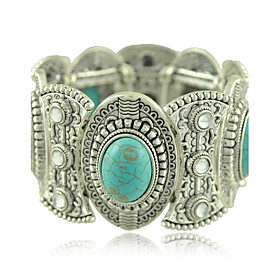 Trendy Tibetan Silver Jewelry Metal Carving Turquoise Crystal Wide Bangles Bracelets