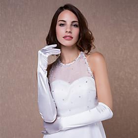 Elbow Length Fingertips Glove Satin Bridal Gloves Spring Summer Fall Winter