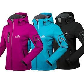 Cikrilan Women's Hiking Jacket Hiking Softshell Jacket Outdoor Winter Waterproof Thermal Warm Breathable Waterproof Zipper Softshell Jacket Winter Jac