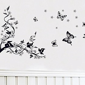 Wall Stickers Wall Decals Plum and Butterfly Decorative Sticker