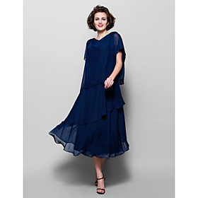 A-Line Cowl Neck Tea Length Chiffon Mother of the Bride Dress with Beading Appliques by LAN TING BRIDE plus size,  plus size fashion plus size appare